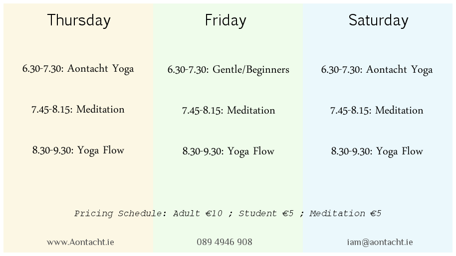 Yoga Meditation Longford  Schedule