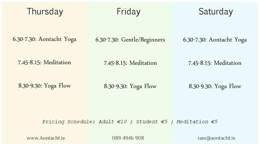 Yoga Meditation Longford  Schedule