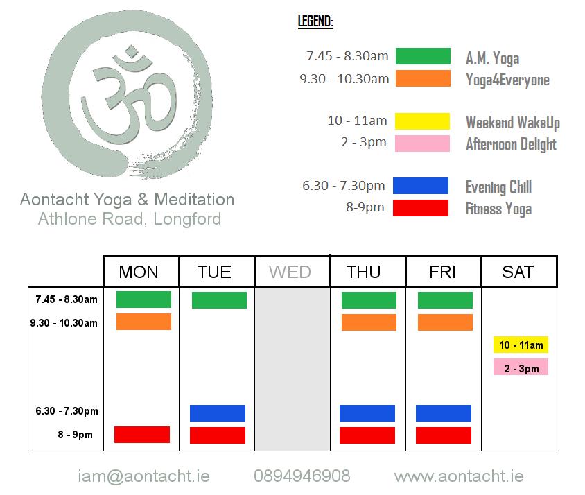Aontacht Yoga Longford Class Schedule 2015